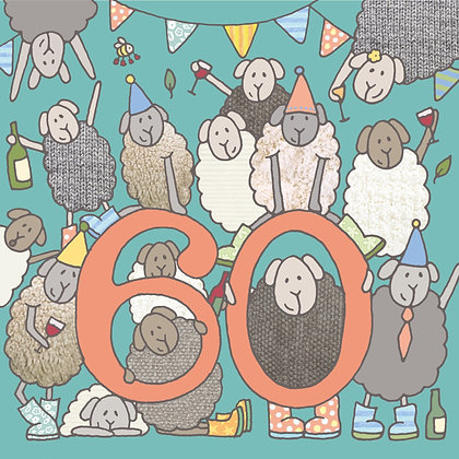 60th BIRTHDAY CARD (pack of 6)