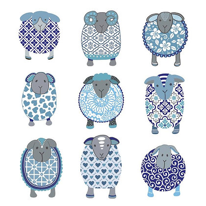 BLUE FLOCK CARD (pack of 6)