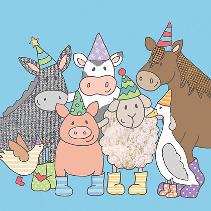 PARTY ANIMALS BIRTHDAY CARD (pack of 6)