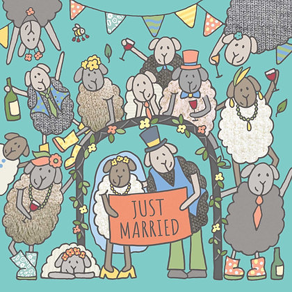 JUST MARRIED CARD (pack of 6)