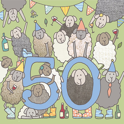 50th BIRTHDAY CARD (pack of 6)