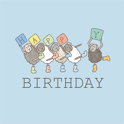 BIRTHDAY BLUE CARD (pack of 6)