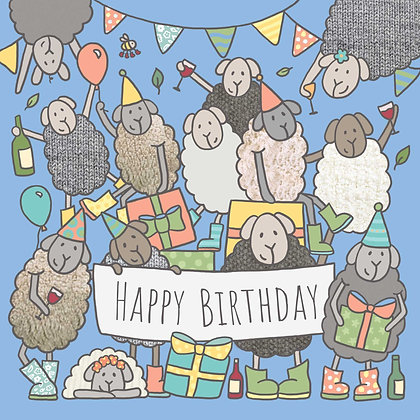 SHEEP BIRTHDAY PARTY CARD (pack of 6)