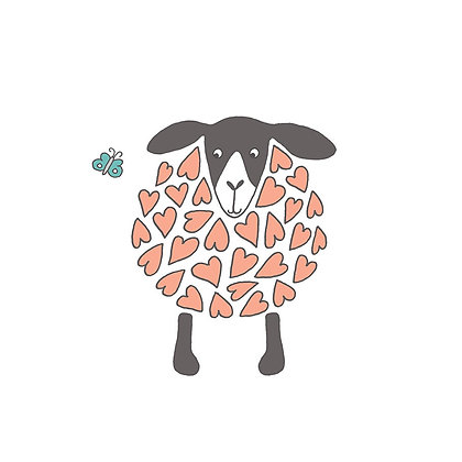 SHEEP-HEART CARD (pack of 6)
