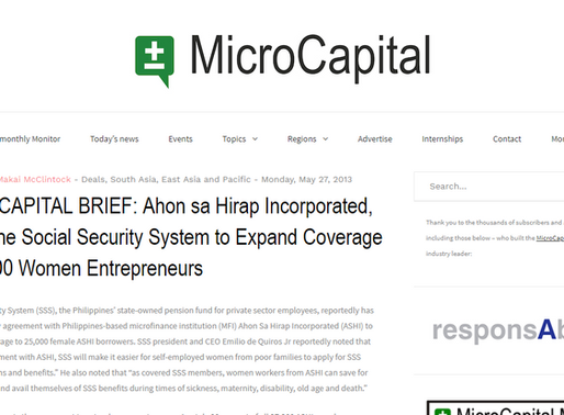 MICROCAPITAL BRIEF: Ahon sa Hirap Incorporated, Philippine Social Security System to Expand Coverage