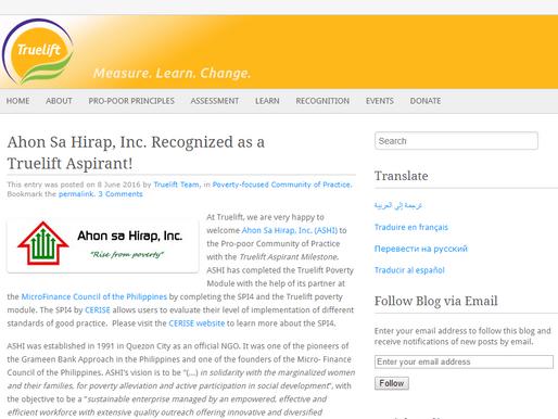 Ahon Sa Hirap, Inc. Recognized as a Truelift Aspirant!