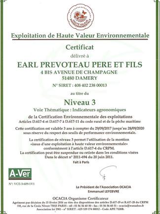 Certifiée Exploitation Viticole de Haute Valeur Environnementale