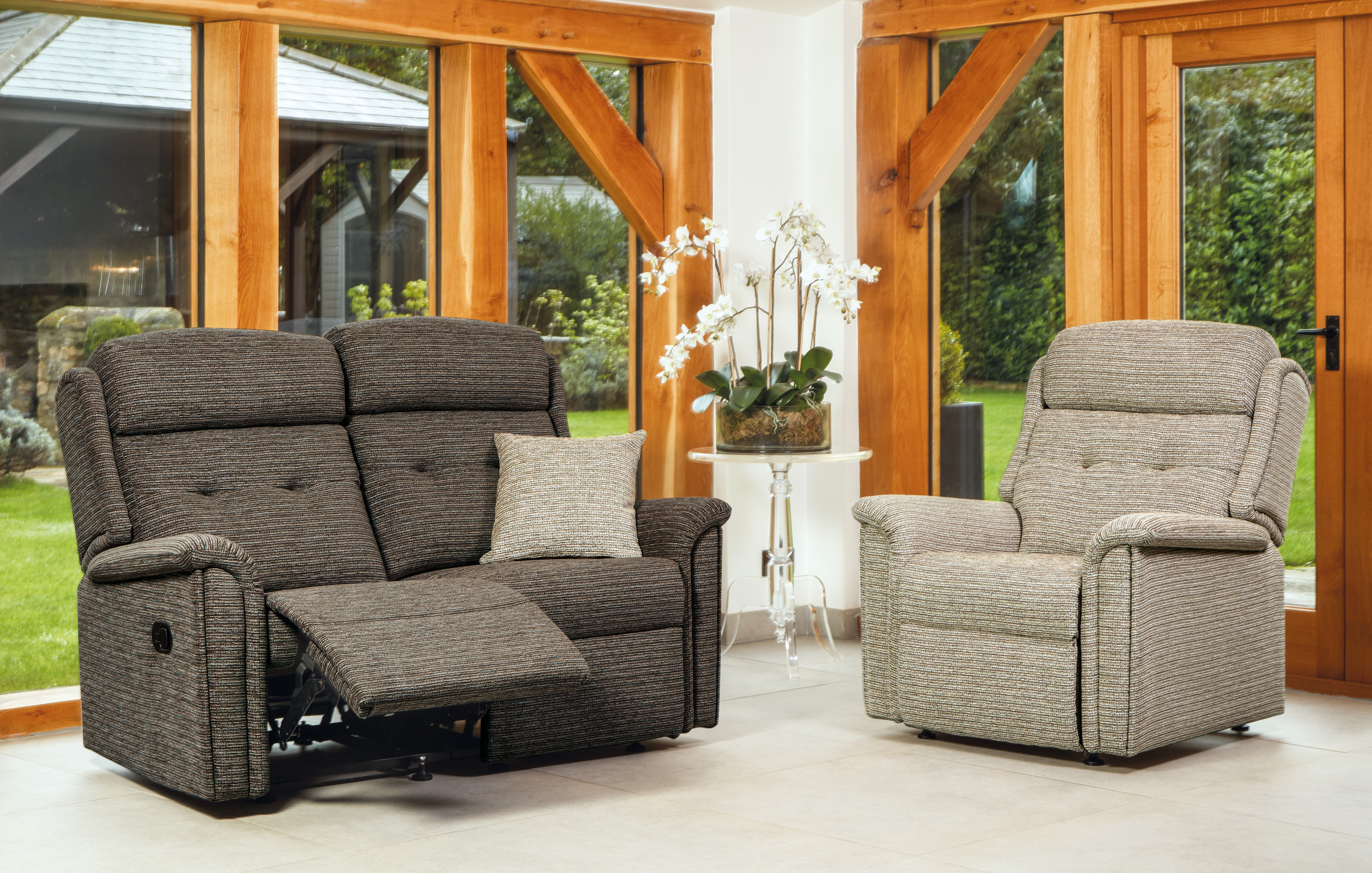 Roma Small 2-Seater Recliner, Small Fixe