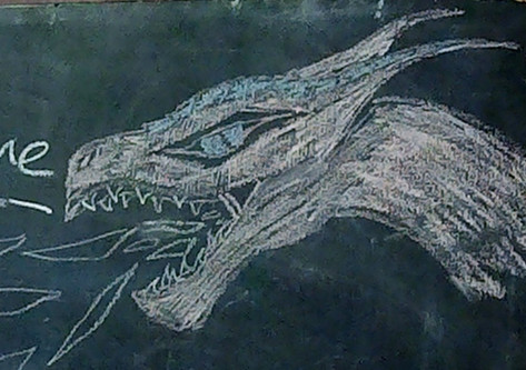 Hermione's chalk dragon