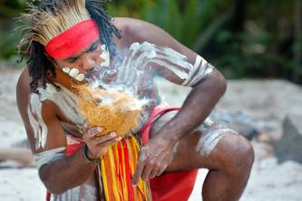 Portrait of one Yugambeh Aboriginal warr