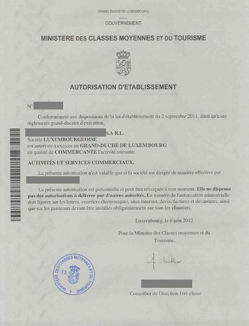 Example of Business Permit for trade activity