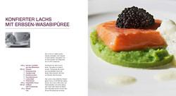 Konfierter Lachs mit Erbsen-Wasabipu