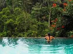 Infinite pool in Balinese rainforest