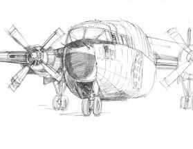 Military Cargo Plane, ink