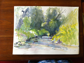Feet in the Stream, Watercolor