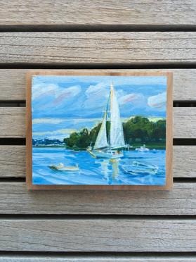 Boating the Weir, Acrylic