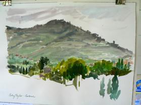 Cortona from La Poventa, Gouache