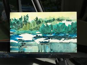 Across the Weir, Acrylic