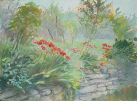Poppies Along the Walk, Gouache