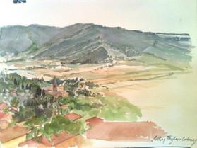 View from Cortona, Watercolor