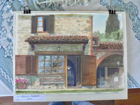 Our Cortona Villa.Watercolor
