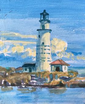 Boston Light on Little Brewster, Oil