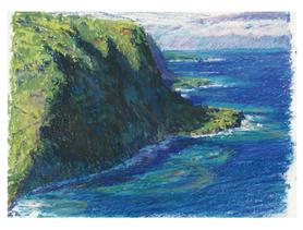Stetching in Hawaii, Oil Pastel
