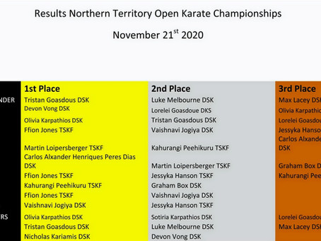 Official Results NT Open Karate championships 2020