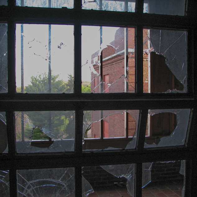 Window from Wards looking onto the porches