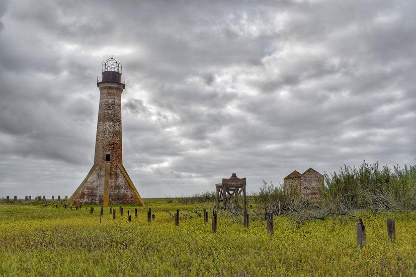 """Dramatic Sabine Pass Lighthouse"" printed photo canvas"