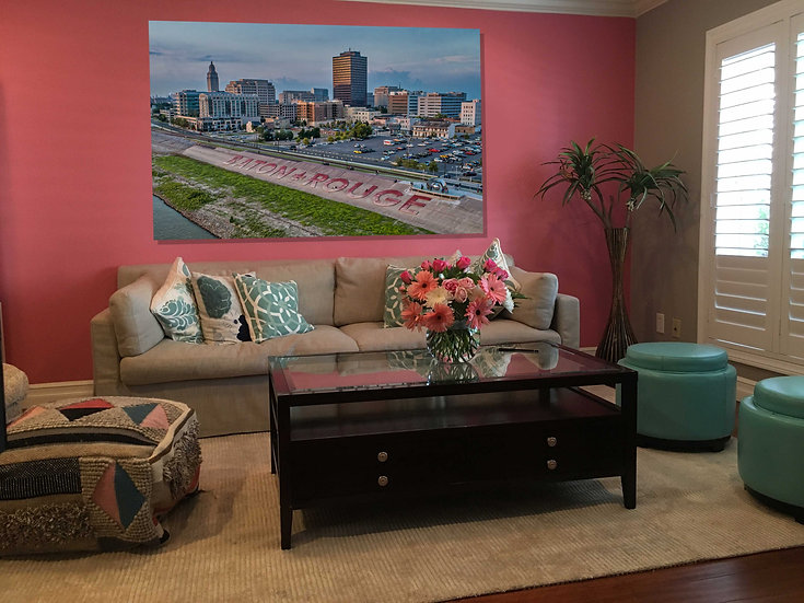 """Baton Rouge Skyline"" printed photo canvas"