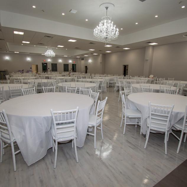 The V reception area