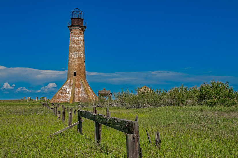 """Blue sky Sabine Pass Lighthouse"" printed photo canvas"