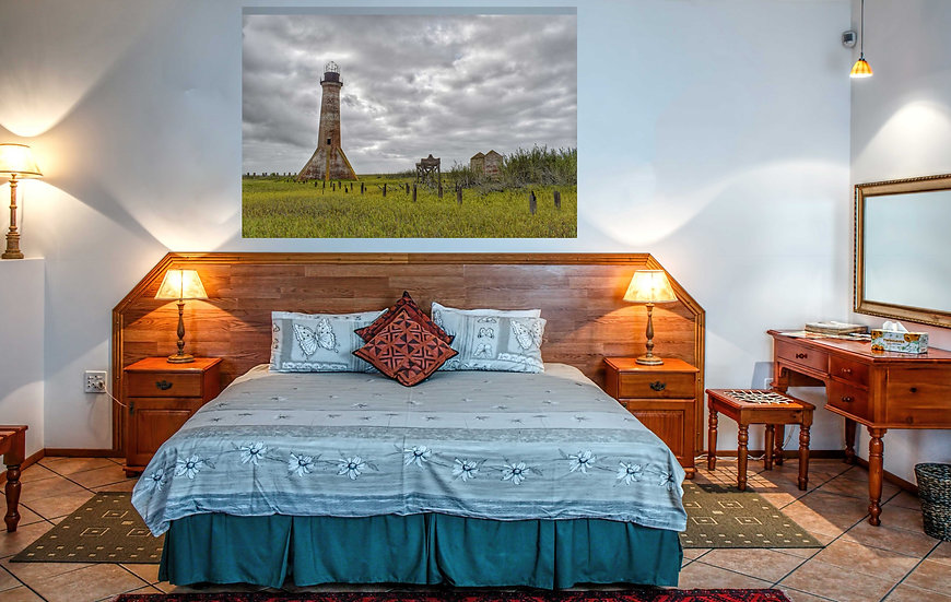"""Dramatic Sabine Pass Lighthouse"" printed photo canvas"