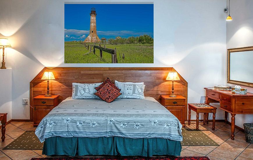 """Blue sky Sabine Pass Lighthouse"" printed photo canvas"