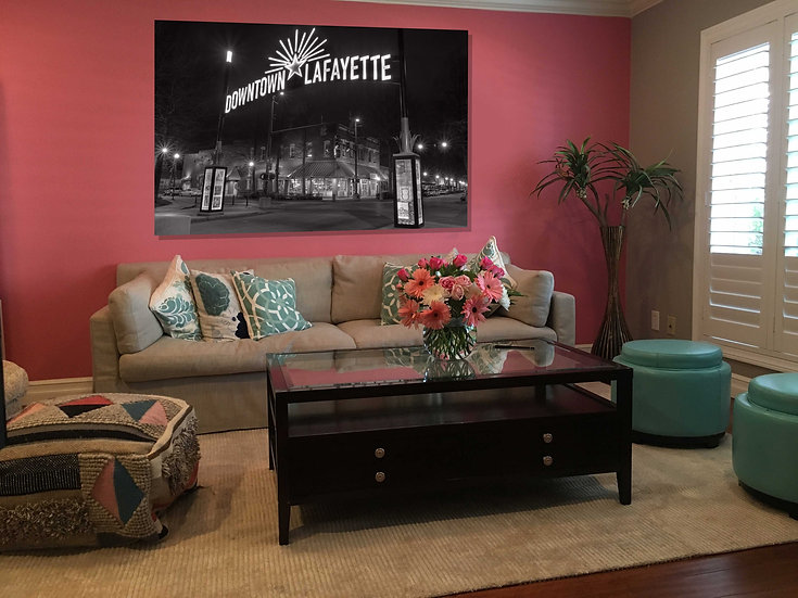 """Downtown Lafayette Sign"" printed photo canvas"
