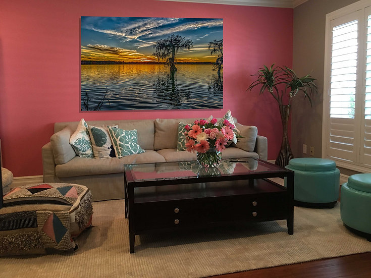 """Lake Martin single cypress sunset"" printed photo canvas"