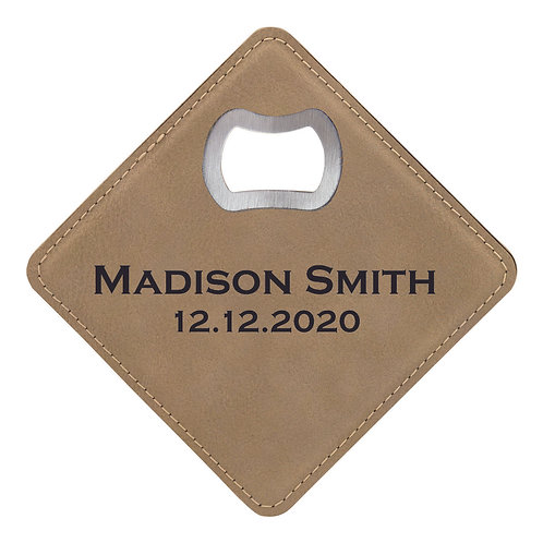 Light Brown Laserable Leatherette Bottle Opener Coaster