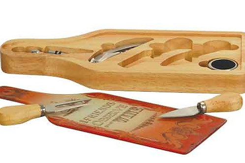 "13 1/2"" x 5 1/2"" Wine and Cheese 6-Piece Set"