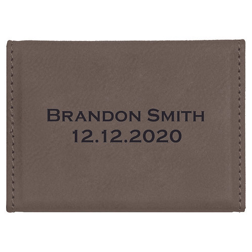 Gray Leatherette Business Card Holder
