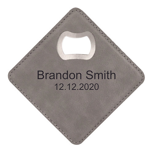 Gray Laserable Leatherette Bottle Opener Coaster