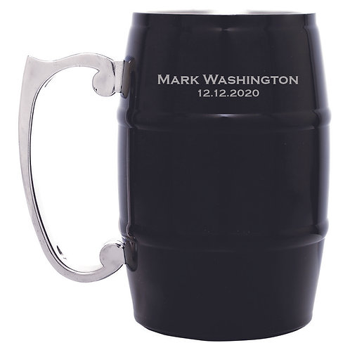 17 oz Barrel Mug Black Steel