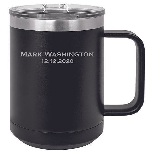 15 oz. Black Steel Vacuum Insulated Mug with Slider Lid