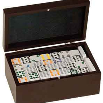 Rosewood Finish Dominoes Set