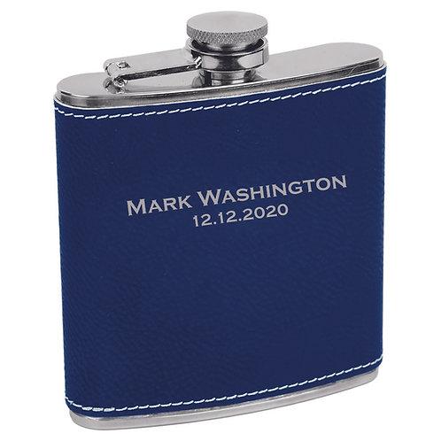 6 oz. Leatherette Flask Blue