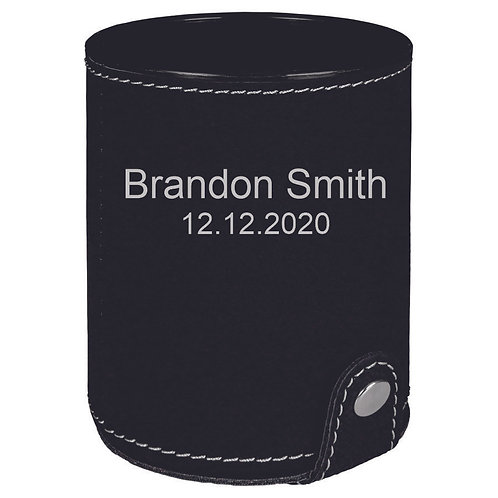 Black Leatherette Dice Cup with 5 Dice