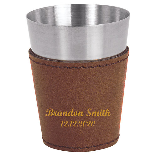 Brown Leatherette Wrapped Stainless Steel Shot Glass