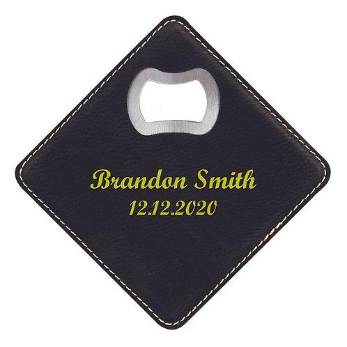 Black/Gold Laserable Leatherette Bottle Opener Coaster