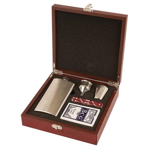 Rosewood Finish Flask Set w/ Playing Cards