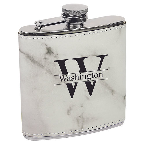 6 oz. Leatherette Flask White Marble